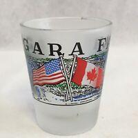 Niagara Falls Frosted Collectible Souvenir Shot Glass U.S & Canadian Flags