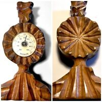 Old Thermometer Carved Solid Wood Candle Holder Vintage Rich Patina