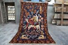 Amazing Antique Handknotted Afghan Pictorial (Hunting Scene)Wool Rug(180×103cm)