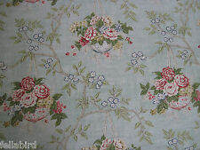 """SANDERSON  CURTAIN FABRIC DESIGN """"Willoughby"""" 3.5 METRES FRENCH BLUE/CRANBERRY"""