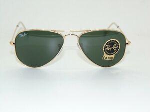 Ray Ban Aviator Small Metal RB 3044 L0207 Gold/Green G-15 52mm Sunglasses