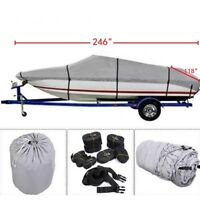 17-24ft Waterproof Heavy Duty Trailerable Fishing Ski Boat Cover V-Hull Beam US