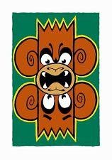 Mighty Mo - Double Trouble (Green & Orange) Graffiti Street Art Print Monkey
