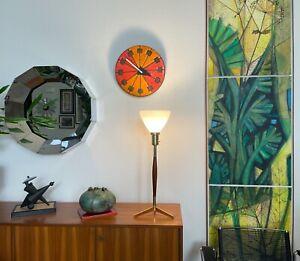 Mid Century Modern Tripod X-Base Walnut Brass Table Lamp Thurston Laurel
