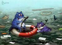 Modern Russian Postcard Gift Titanic Blue Cats Kitty Kitten Unposted Zenyuk