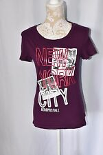 Aeropostale Womens Large Purple Fitted Short Sleeve T-Shirt New York Graphic