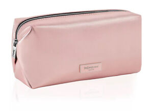 YSL YVES SAINT LAURENT Beaute metallic baby pink makeup bag cosmetic pouch case