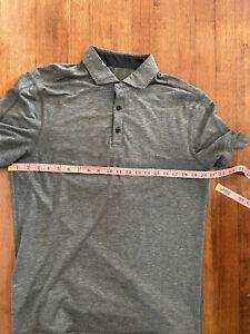 Lululemon Evolution Men's Medium Large Dark Gray Polo Short Sleeve Shirt