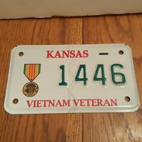 KANSAS - VIETNAM VETERAN MOTORCYCLE LICENSE PLATE - NEVER USED - #1446