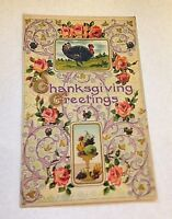 Vintage Postcard Turkey Thanksgiving Greetings Floral German