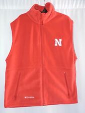 Columbia Huskers Fleece Vest Nebraska Mens M Full Zipper Football Fan Casual Red