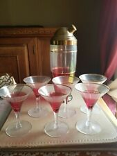 Vintage Bar Set with 6 Martini Glasses, pink tinted, gold trim