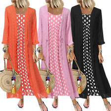 Plus Size Women Autumn Polka Dot Maxi Dress Cardigan Casual Baggy Party Sundress