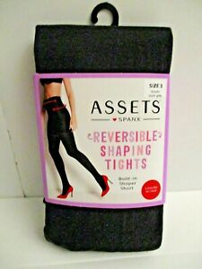 Red Hot Spanx womens Reversible Shaping Tights Black and Dark Grey Size 3
