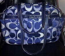 Auth Coach Signature Diaper Baby Bag Large Tote Purse F18376 Navy Blue - RARE