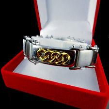 New Men's 14K  2 Tone Gold Finish Heavy Stainless Steel  Biker Bracelet 8.5 Inch