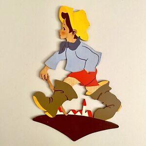 1950er Laubsägearbeit 24cm Mertens-Kunst Sommerhut-Junge Vintage Deko Kind ALT