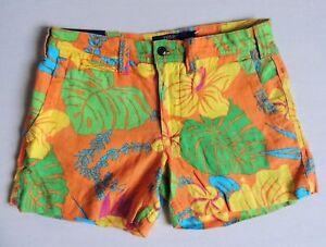 Polo Ralph Lauren Linen Hawaiian Flower Floral Tropical Beach Mini Shorts 0 2
