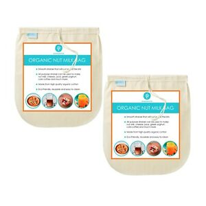 "Nut Milk Bag 10"" x 12"" Pack of 2 - Organic Cotton - Strainer for Milk / Juice"