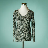 Gerard Darel 1 Size XS Sweater Animal Print Leopard Cheetah Wool V Long Sleeve