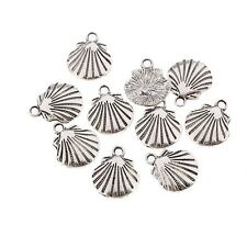 10pcs Shell Tibetan Silver Bead Charms Pendants Fit DIY Bracelet 18*4mm