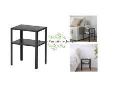 NEW METAL BLACK SIDE TABLE BEDSIDE WITH STORAGE SHELF EASY ASSEMBLY HARD WEARING