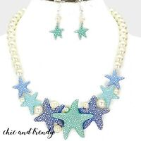 HIGH END SEA LIFE STARFISH CHARM CHUNKY PEARL NECKLACE JEWELRY SET CHIC & TRENDY