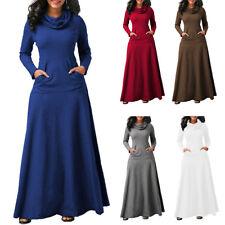 Winter Autumn Women Long Sleeve Cowl Neck Casual Loose Pockets Maxi Swing Dress
