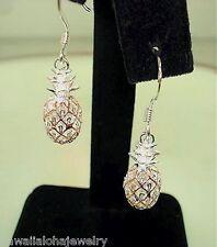 8mm Hawaiian 2-Tone STER Silver Rose Gold Openwork Pineapple Hook Earrings #3