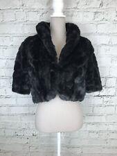 DEBUT Black Faux Fur Short Sleeve Cropped Jacket Occasion Shrug Size 18