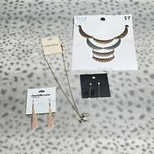 4 Pc Mixed Lot Costume Jewelry Mall Brand Earrings Necklace H&M Forever 21