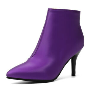 Women's Winter Ankle Boots Faux Leather Zipper Stilettos High Heel Booties Shoes