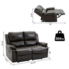 Double Seat Reclining Loveseat Recliner PU Faux Leather Pullback Control