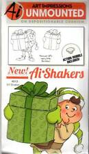 New ART IMPRESSIONS RUBBER STAMP Cling ELF SHAKER set CHRISTMAS HOLIDAY
