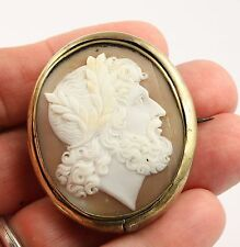 Large antique Victorian c1890 gilt metal Italian shell cameo brooch pin