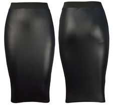 WOMENS WET LOOK FAUX LEATHER PENCIL  BODYCON HIGH WAISTED  MIDI SKIRT