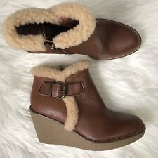 00634315a3af Sam Edelman Size 6 Wedge Booties Sherpa Brown Tan Leather Buckle EUC