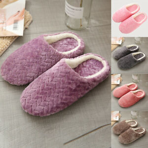 Unisex Home Warm Slippers Winter House Slip On Anti Slip Comfy Indoor Shoes SIze