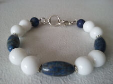 HANDMADE SILVER PLATED BLUE LAPIS AND WHITE AGATE BRACELET 7 1/2""
