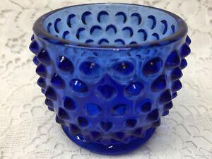 Blue Vaseline glass Hobnail mustard dish uranium cobalt toothpick candle holder