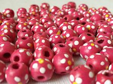 100 PINK COLOUR ROUND FLOWER WOOD BEADS 10 mm = W0074