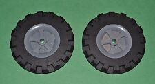 "lot of 2 K'Nex 3 1/2"" tires with grey pulley inserts-replacement parts-comb ship"