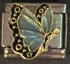 ITALIAN CHARMS MARCH BIRTHSTONE BUTTERFLY D'LINQ BRAND 9MM MODULAR NEW