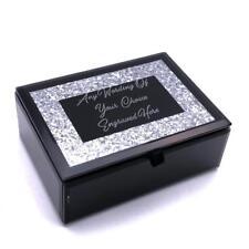 Large Personalised Beautiful Black Glass Glitter Jewellery Box X68105