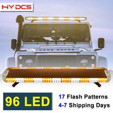 """96 LED 50"""" Amber/White Emergency Beacon Warn Tow Truck Response Strobe Light Bar"""