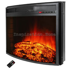 "28"" Free Standing Insert Electric Fireplace Firebox Heater Flame Wood Remote"