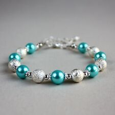 Silver stardust turquoise blue pearls beaded bracelet wedding bridesmaid gift