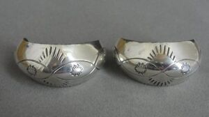 Half Hoops with Stamped Tooled Design Sterling Silver 925 Pierced EARRINGS