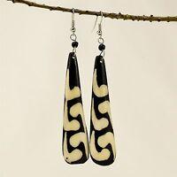 Africa Handmade Jewelry Batik Mud Cloth Print Tear Drop Bone Earring 327-18