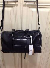 New C.Z. Falconer BLACK Full Grain Leather Satchel w/Adjustable Strap